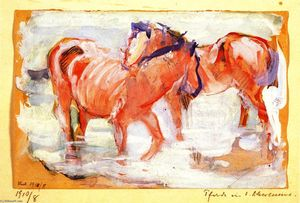 Franz Marc - Cavalli in un Watering Place