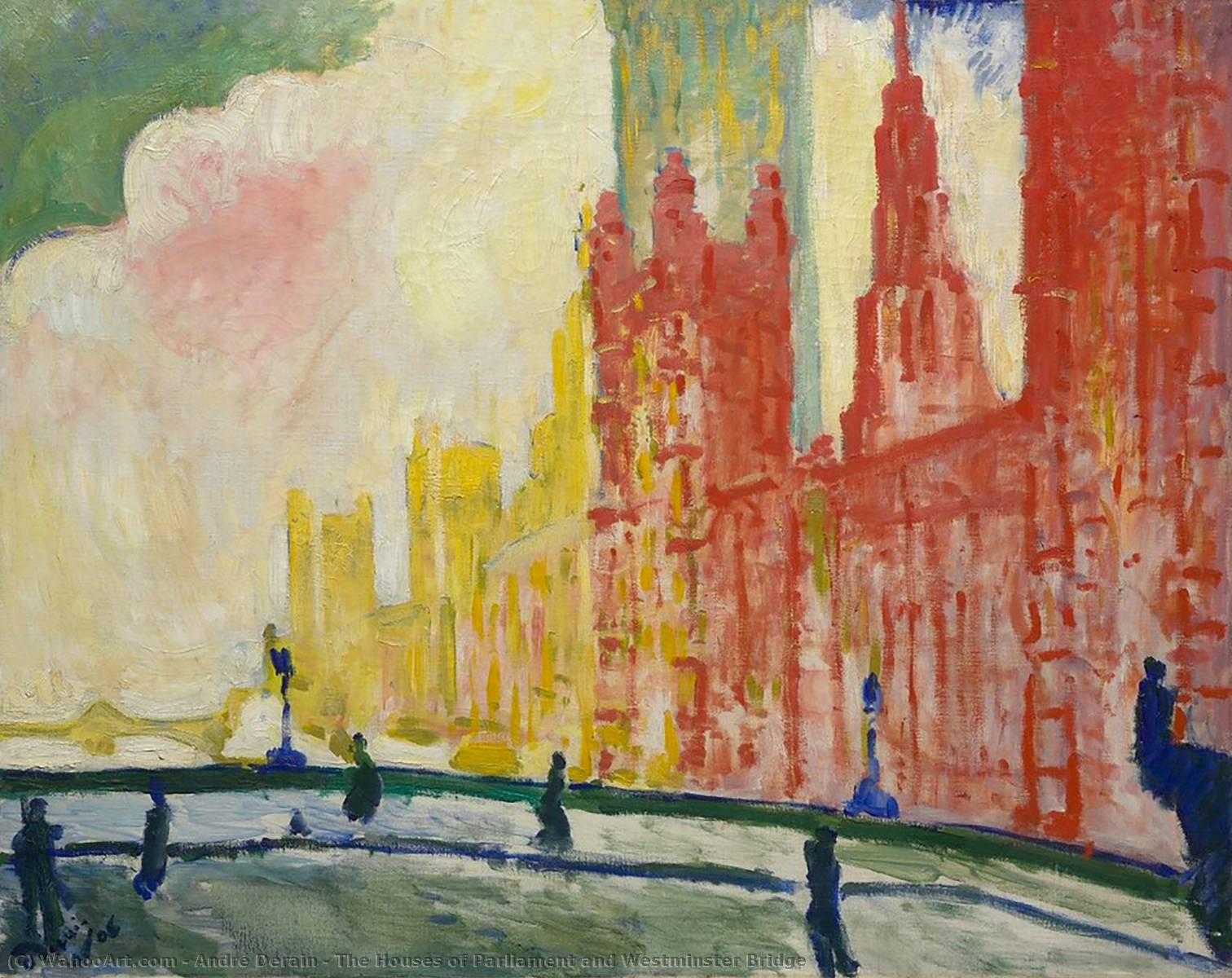 Il Houses of Parliament e Westminster Bridge, 1906 di André Derain (1880-1954, France) | Copia Pittura | WahooArt.com