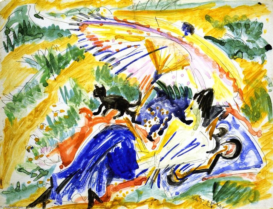 Im Sonnenbad, acquerello di Ernst Ludwig Kirchner (1880-1938, Germany)