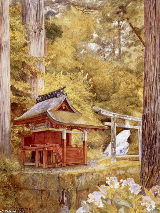 Pagoda giapponese in the Woods, acquerello di Henry Roderick Newman (1833-1918, United States)