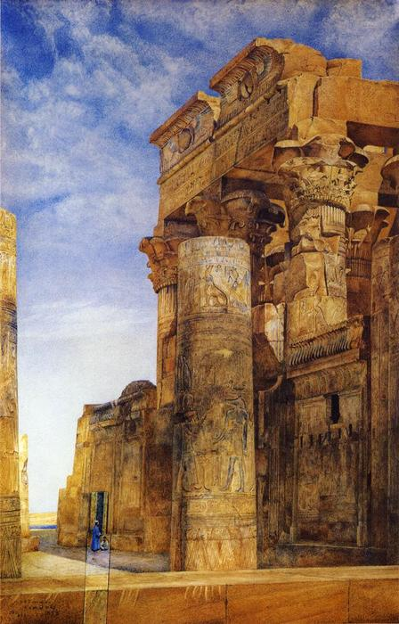 Kom Ombo, acquerello di Henry Roderick Newman (1833-1918, United States)