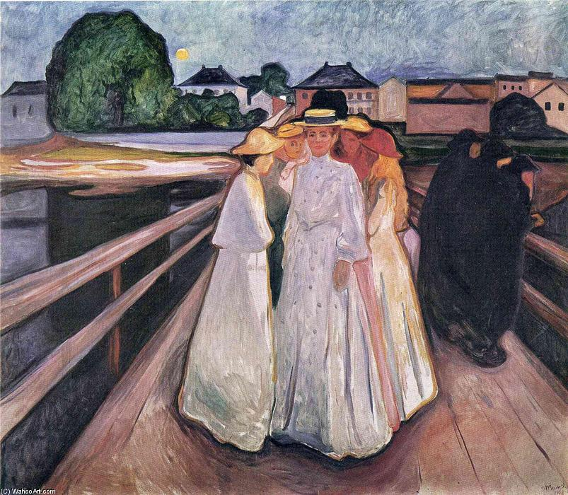 il signore sul ponte, olio su tela di Edvard Munch (1863-1944, United Kingdoms Of Sweden And Norway)