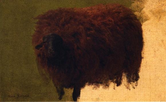 Grande Wooly Sheep (noto anche come Wether), olio su tela di Rosa Bonheur (1822-1899, France)