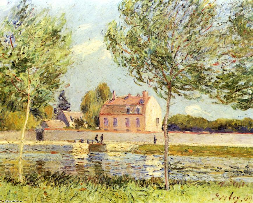 Houses on the banks of the Loing, olio su tela di Alfred Sisley (1839-1899, France)