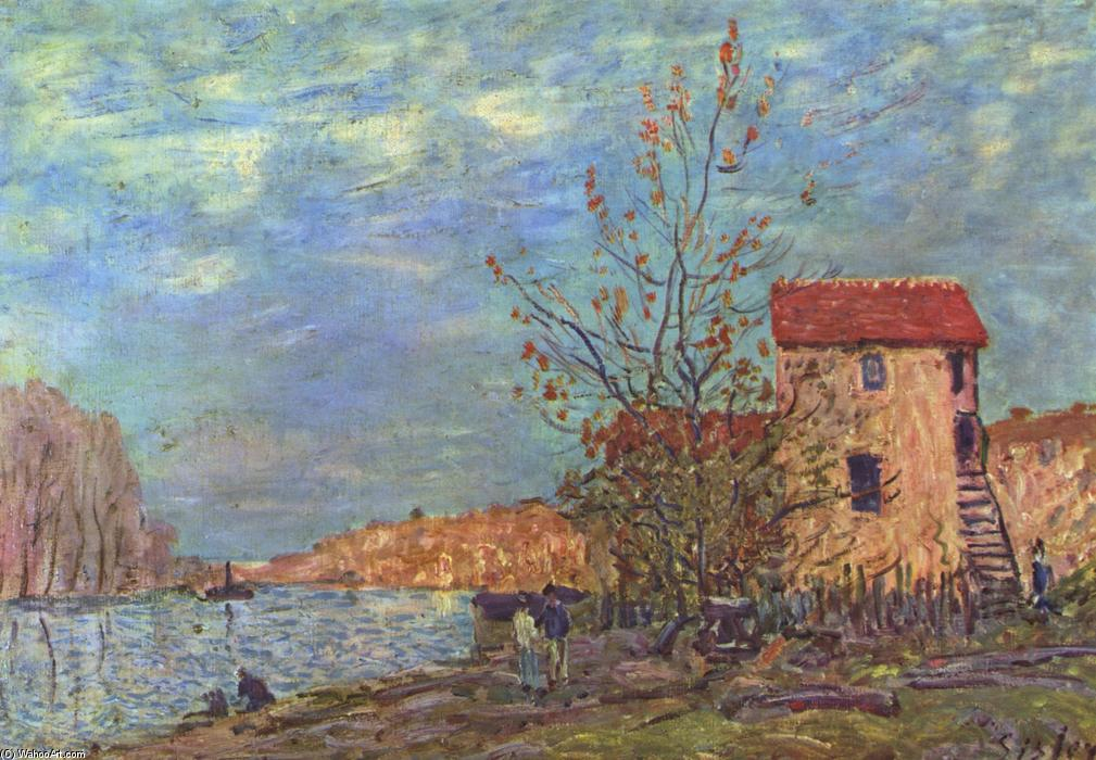 The Loing at Moret, olio su tela di Alfred Sisley (1839-1899, France)