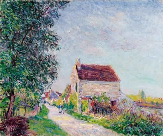 The village of Sablons, olio su tela di Alfred Sisley (1839-1899, France)