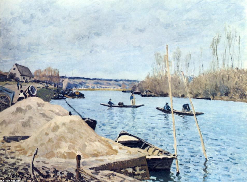 Il Seine at Port Marly sand piles, 1875 di Alfred Sisley (1839-1899, France) | Copia Pittura | WahooArt.com