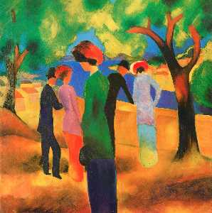 August Macke - donna in un Verde  giacca