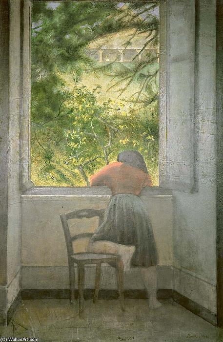Ragazza al finestra olio su tela di balthus balthasar for Ragazza alla finestra quadro