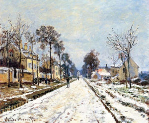 Claude Monet - effect snow , la strada per louveciennes