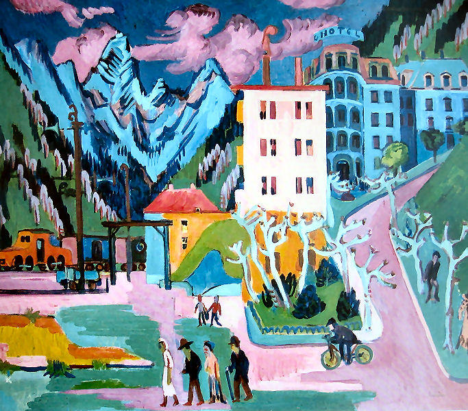 stazione a davos, 1925 di Ernst Ludwig Kirchner (1880-1938, Germany) | WahooArt.com