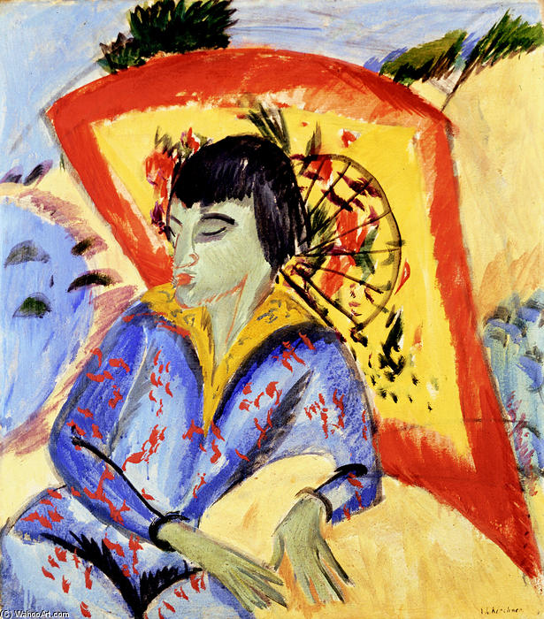 Giapponese, olio su tela di Ernst Ludwig Kirchner (1880-1938, Germany)