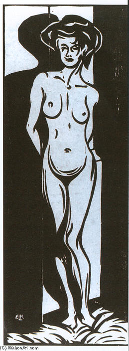 nudeyoung Donna Davanti un Forno, 1905 di Ernst Ludwig Kirchner (1880-1938, Germany)