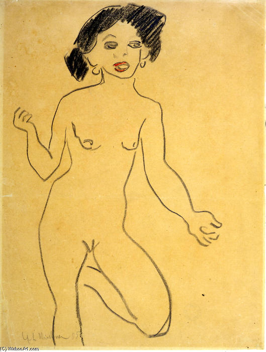 Milli, gesso di Ernst Ludwig Kirchner (1880-1938, Germany)