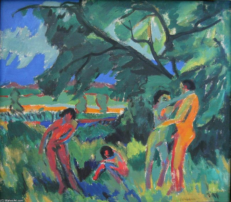 giocare nudo persone, 1910 di Ernst Ludwig Kirchner (1880-1938, Germany)