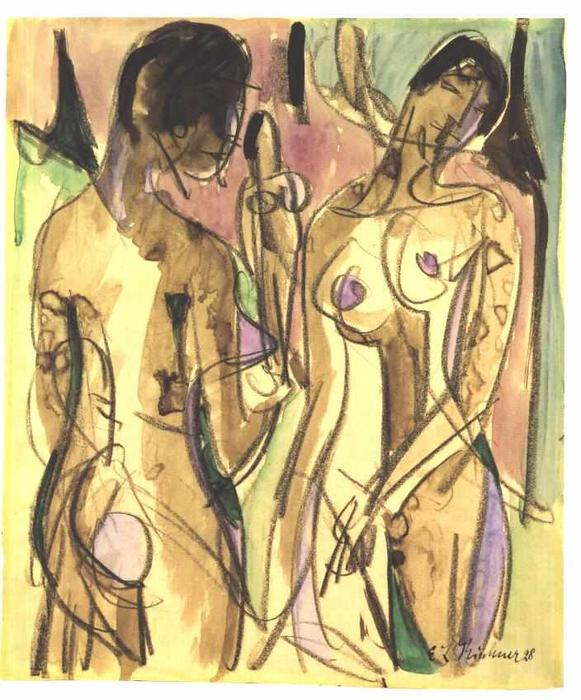 tre nudi nel foresta, 1928 di Ernst Ludwig Kirchner (1880-1938, Germany) | WahooArt.com