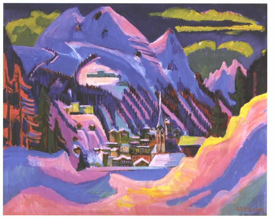 Davos nella neve di Ernst Ludwig Kirchner (1880-1938, Germany)