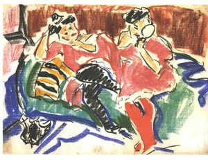 Ernst Ludwig Kirchner - due donne ad una `couch`