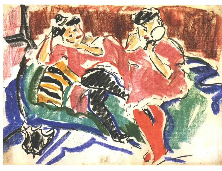 due donne ad una `couch` di Ernst Ludwig Kirchner (1880-1938, Germany)