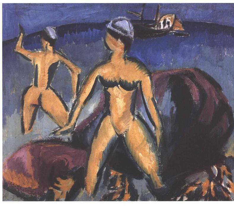 due donne al mare di Ernst Ludwig Kirchner (1880-1938, Germany)