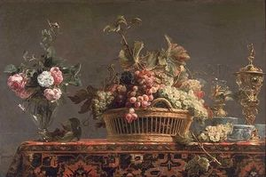 Frans Snyders - Uva in un cestino e rose in un vaso