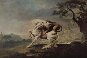 George Stubbs - lion attacking a horse
