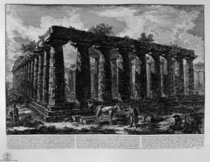 Giovanni Battista Piranesi - Vista di un colonnato che forma un quadrilatero