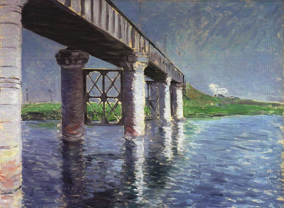 il ponte a argenteuil, olio su tela di Gustave Caillebotte (1848-1894, France)