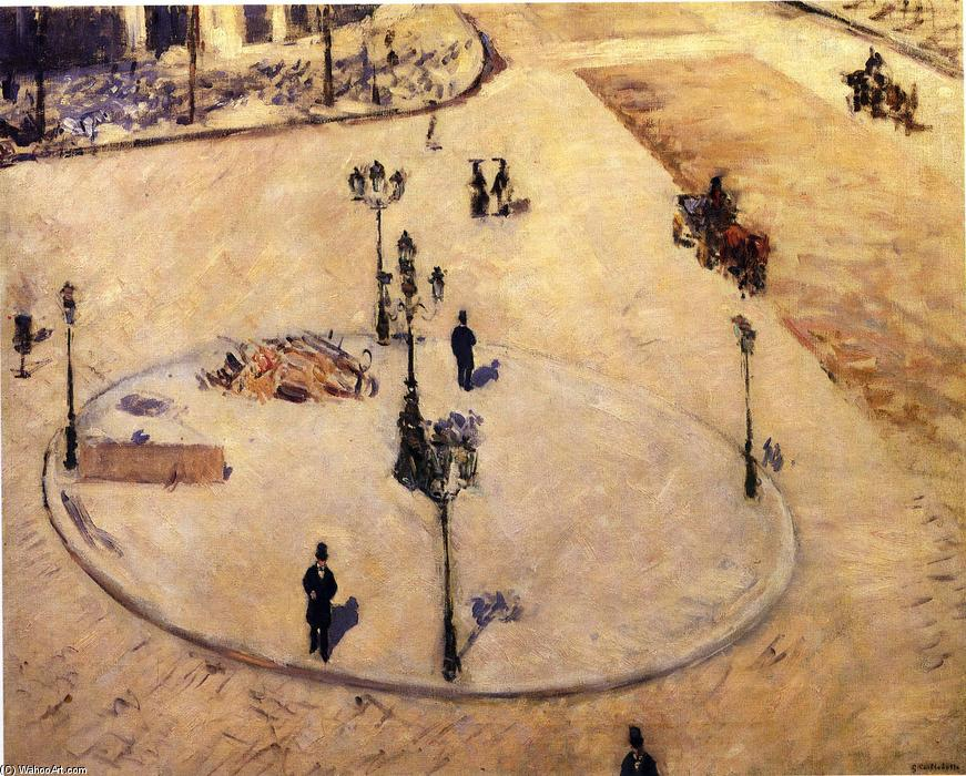Traffico Isola in Boulevard Haussmann, olio su tela di Gustave Caillebotte (1848-1894, France)