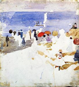 Maurice Brazil Prendergast - figure sketch su Beach ( anche conosciuto as Early Beach )