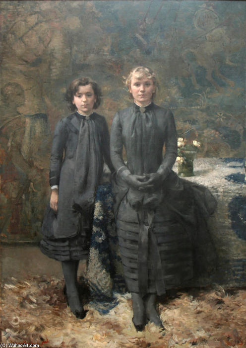 I Sisters of il pittore Schlobach, 1884 di Theo Van Rysselberghe (1862-1926, Belgium) | WahooArt.com