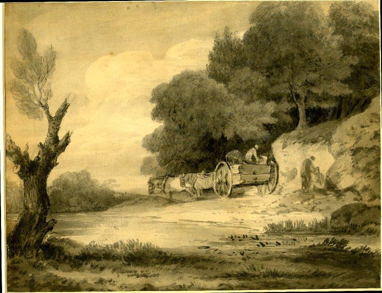 Figure con carrello a bordo della strada, gesso di Thomas Gainsborough (1727-1788, United Kingdom)