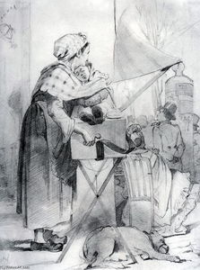 Vasily Grigoryevich Perov - Paris sharmanschitsa. Sketch