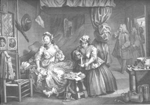 William Hogarth - a `harlot's` progresso piatto 3