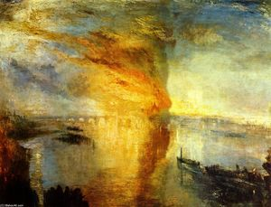 William Turner - l-incendio di  Antartico  case  di  Il Parlamento