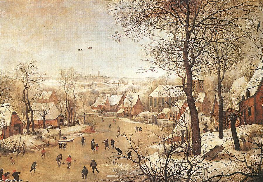 Paesaggio invernale con una uccello trappola olio su pannello di pieter bruegel the younger - Schilderij kooi d trap ...