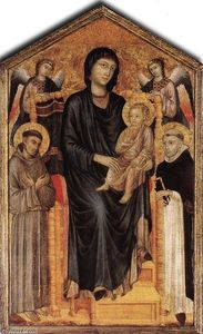 Cimabue - madonna `enthroned` con l'estensione bambino , S Francis , S . Domenico e due angeli