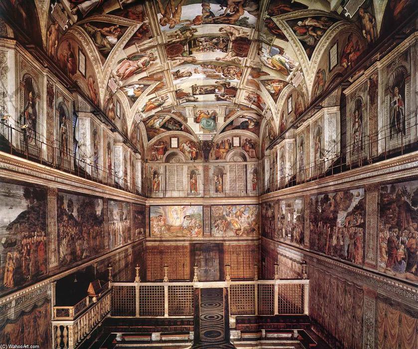 Interno del sistina cappella affreschi di michelangelo for Decorazione quattrocentesca della cappella sistina