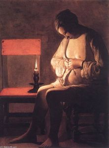 Georges De La Tour - Woman Catching Pulci
