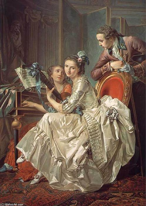il musica party, olio su tela di Louis Rolland Trinquesse (1746-1799, France)