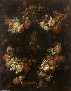 Gaspar Pieter The Younger Verbruggen - Apollo Kithara Player cornice con una ghirlanda di fiori