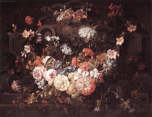 Gaspar Pieter The Younger Verbruggen - Cartiglio con fiori