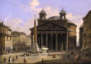 Ippolito Caffi - Veduta of il pantheon , Rome