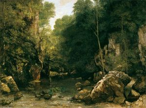 Gustave Courbet - Il Shaded Stream (o The Puits Noir Stream)
