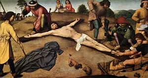 Gerard David - cristo `nailed` al croce