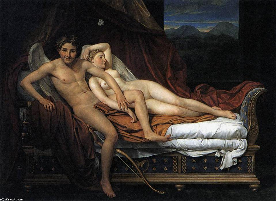 Amore e Psiche, olio su tela di Jacques Louis David (1748-1800, France)