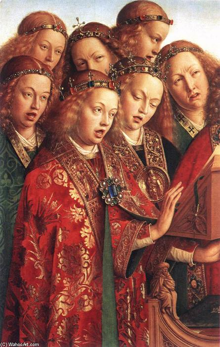 Ordinare Copia Pittura : Il Polittico di Gand: Singing Angels (particolare), 1427 di Jan Van Eyck (1390-1441, Netherlands) | WahooArt.com