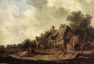 Jan Van Goyen - Contadine Capanne con Sweep Well