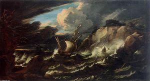 Pieter The Younger Mulier - tempesta a mare