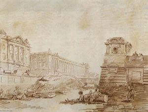 Hubert Robert - Ditch a Place de la Concorde